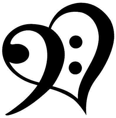 Drop Shipping Bass Clef Heart Symbol Vinyl Decal Sticker Window