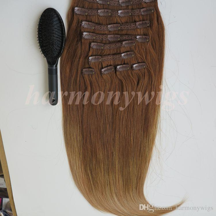 220g /Clip in Hair Extensions 20 22inch T8&14# color braziilian Indian Remy human hair free comb