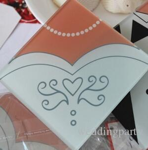 Wholesale Creative Wedding Gifts Bride And Groom Dress Glass Coasters Wedding Favors