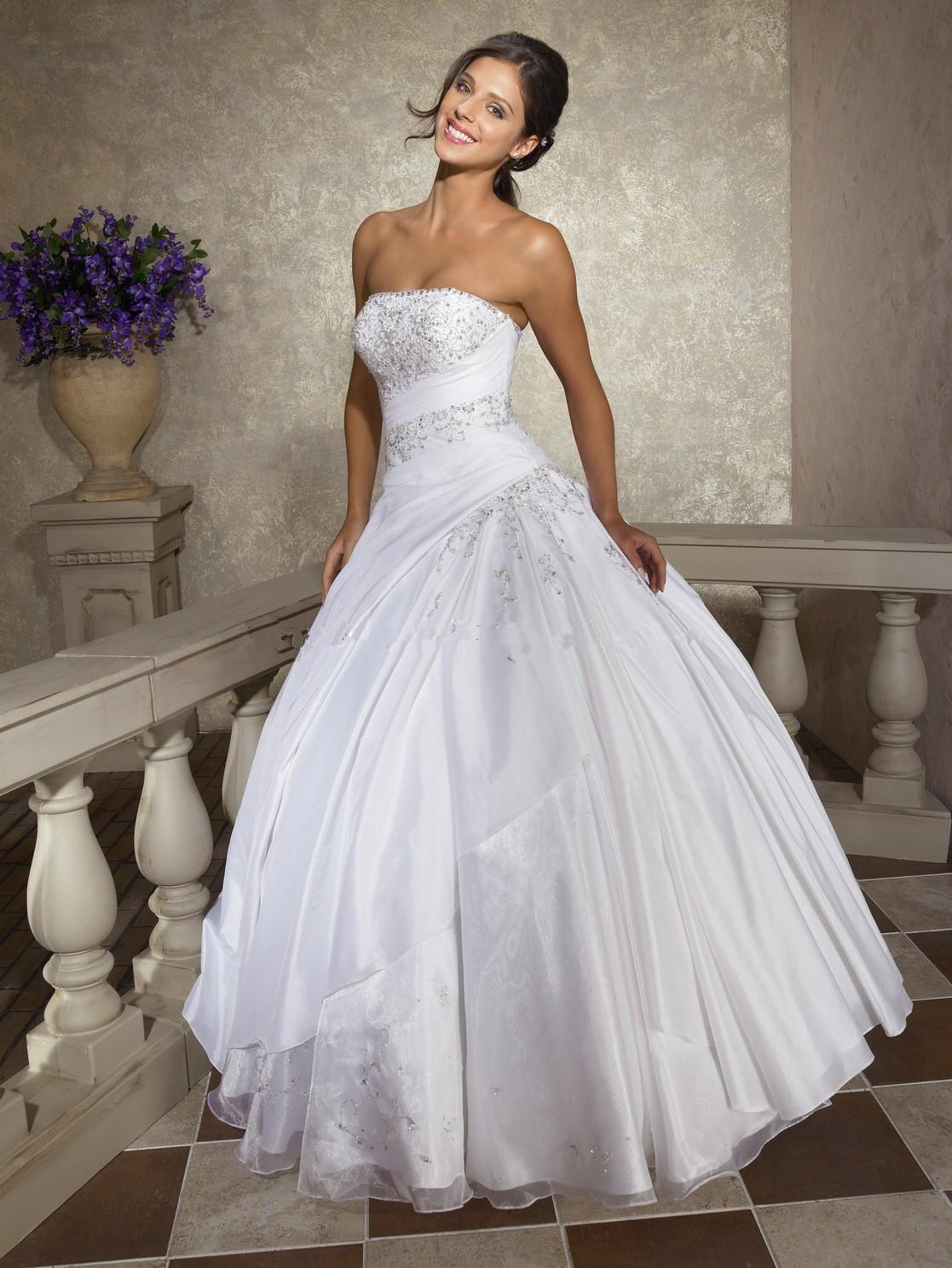White Debutante Dress Ball Gown Beading Lace Strapless Puffy ...
