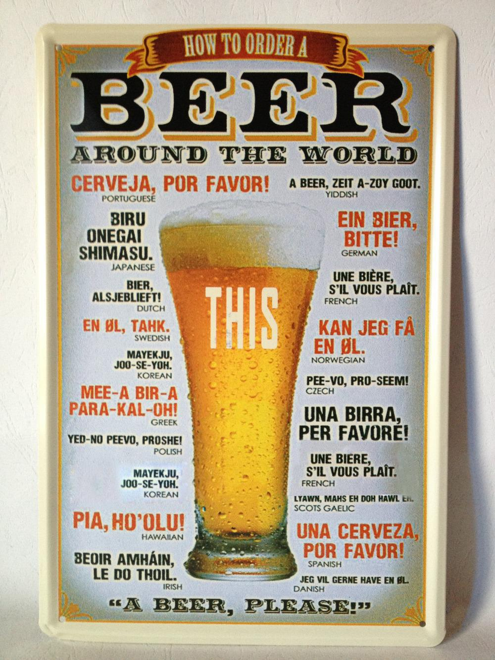 Beer Around The World Tin Sign Bar Pub Home Wall Decoration Retro