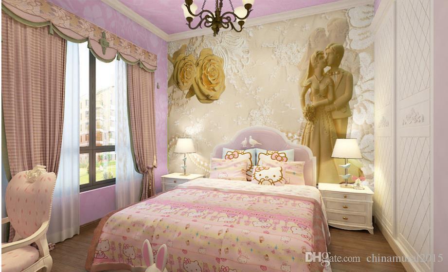 Acheter Oiseaux 3d Papier Peint Romantique Or Rose Fleur Bijoux ...