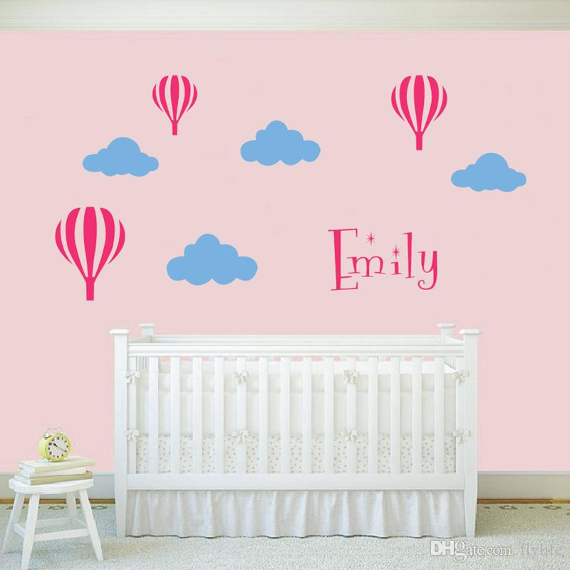 Personalized Name DIY Vinyl Wall Decal Stickers for Kids Rooms Nursery Hot air balloons with 4 Clouds