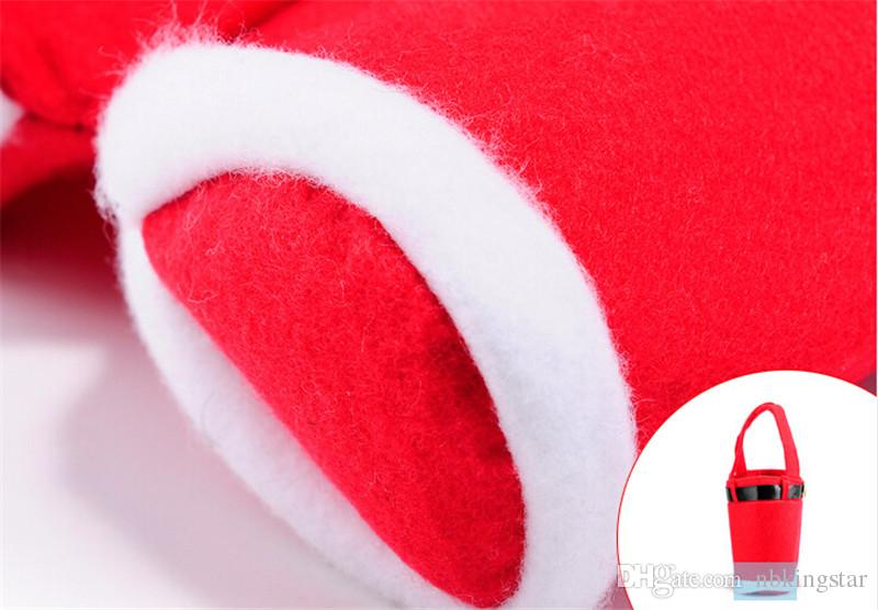 Santa Pants Christmas Candy Cover Decoration Santa Claus Flannel Pocket Bag Table Dinner Dining Holiday Party Gift
