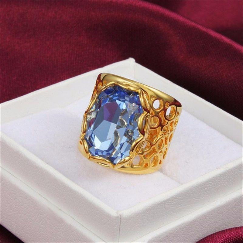 YHAMNI Lüks Unisex Moda Altın Dolu Mavi Elmas Alyans Kadınlar Takı Için R288