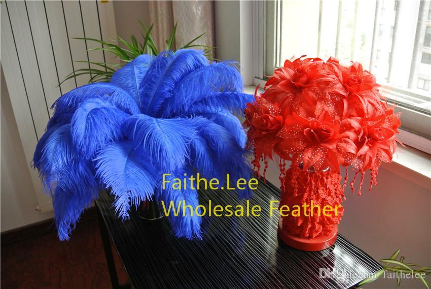 100 sztuk / partia 14-16inch 35-40 cm Royal Blue Strusi Pióra Pufuki dla Centrum ślubu Ślubne Party Party Decor Decor