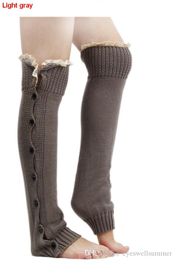 Lace Trim Flat Cuffs Button Down Knit Warmers Knee High Boot Socks Winter Boot Warm Socks Knit Leg Warmer for Christmas