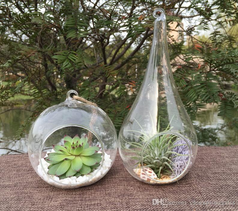 Wholesale Tear Drop Glass Terrarium Air Plant Succulent Terrarium Hanging Globe Candle Holder