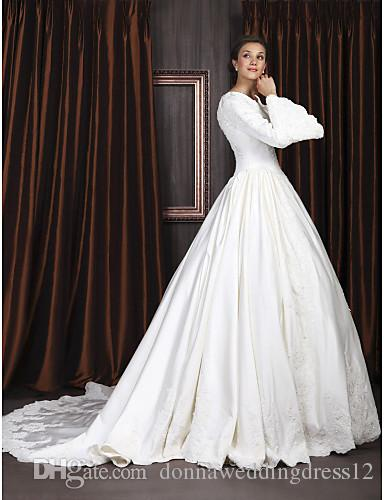 2016 New Hot Fashion Elegant Ball Gown Ivory Chapel Train V-neck Long Sleeve Appliques Satin Wedding Dresses 215