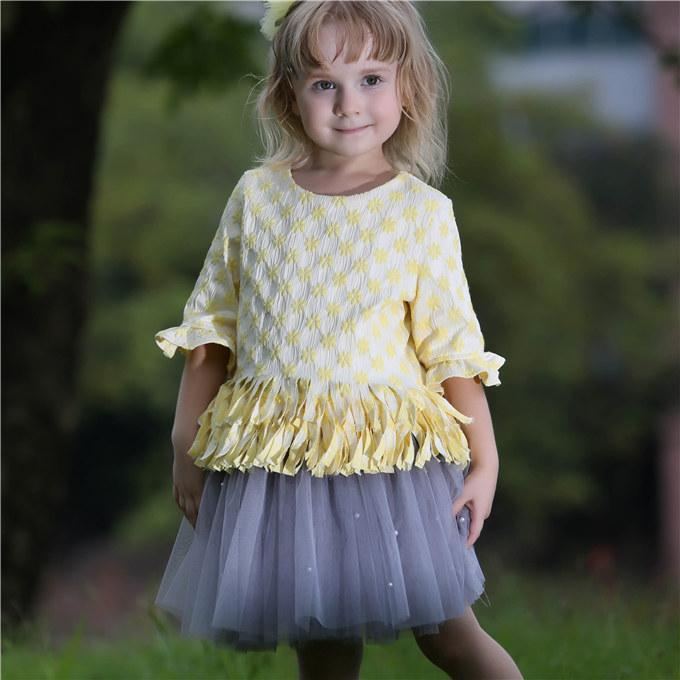 Pettigirl Retail Summer Child Girls Clothes Set With Tulle Skirt And Tassel Top Princess Girl Outfits For Baby Clothes CS80813-79F