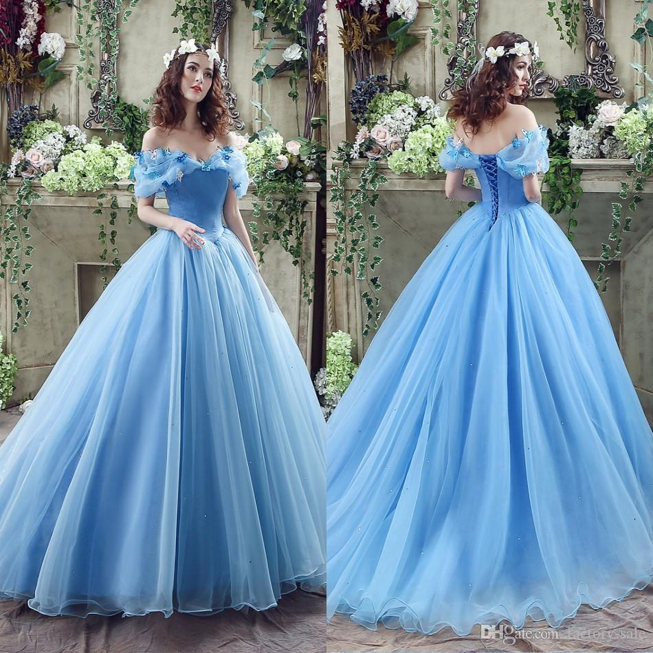 2017 Graceful Blue Ball Gown Wedding Dresses Sexy Off Shoulder with ...