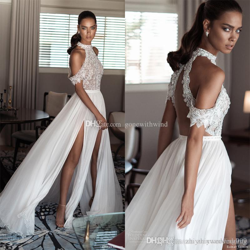 2017 Sheath Wedding Dresses For Greek Goddess Simple: High Neck Cold Shoulder Drape Sleeves Beaded Bodice Beach