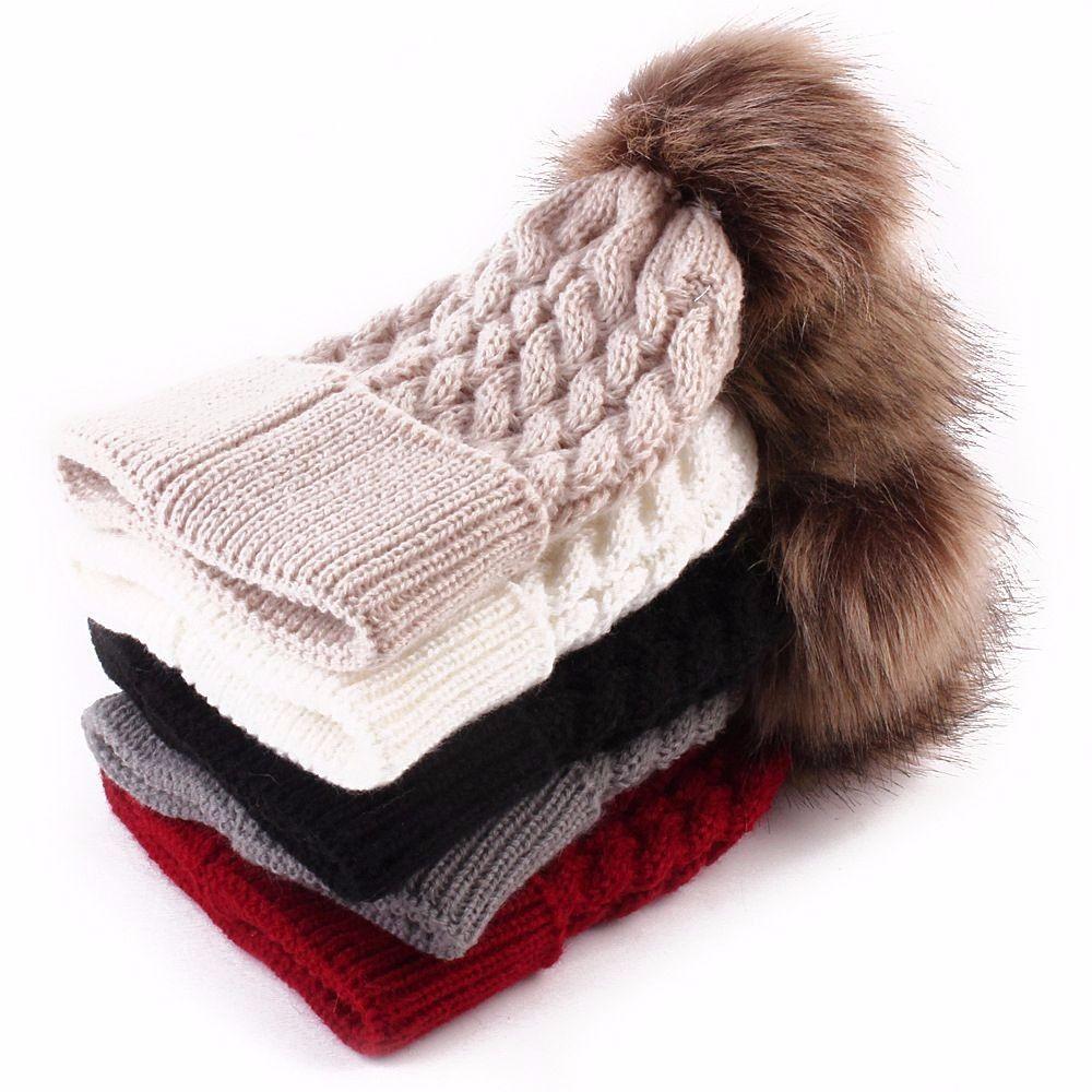 Winter Faux Fur Pompom Ball Knitted Beanies Hat For Newborn Baby Kids Woolen Warm Twist Crochet Caps Xmas Gift