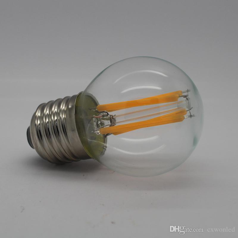 2w 4w 6w 8w led filament bulb light Dimmable G45 C35 A60 glass clear e27 b22 e14 360 degree led lamp for indoor