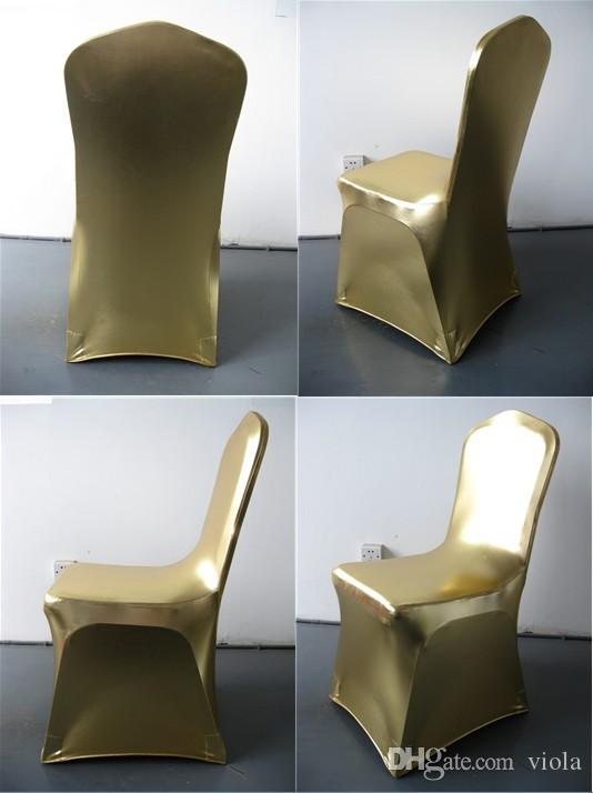 gold chair cover,metallic gold and silver spandex,220gram,reinforced elastic feet pocket,flat front,top quality for wedding