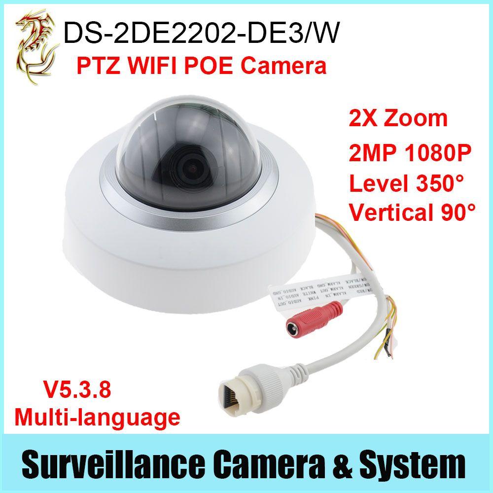 POE PTZ WIFI IP Camera DS-2DE2202-DE3/W 2X Zoom 2MP 1080P Multi-language  Firmware
