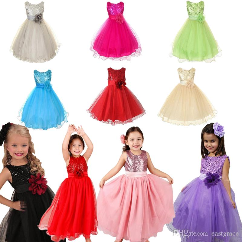 Online Cheap Korea Style 2017 Girls Party Dress ChildrenS Costumes Body Sequins Pure Color Flower Tutu Kids Clothing By Eastgrace