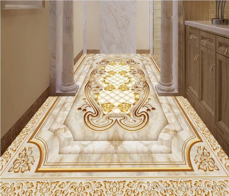 Großhandel PVC Vinyl Bodenbelag Badezimmer Europäischen Luxus Gold ...