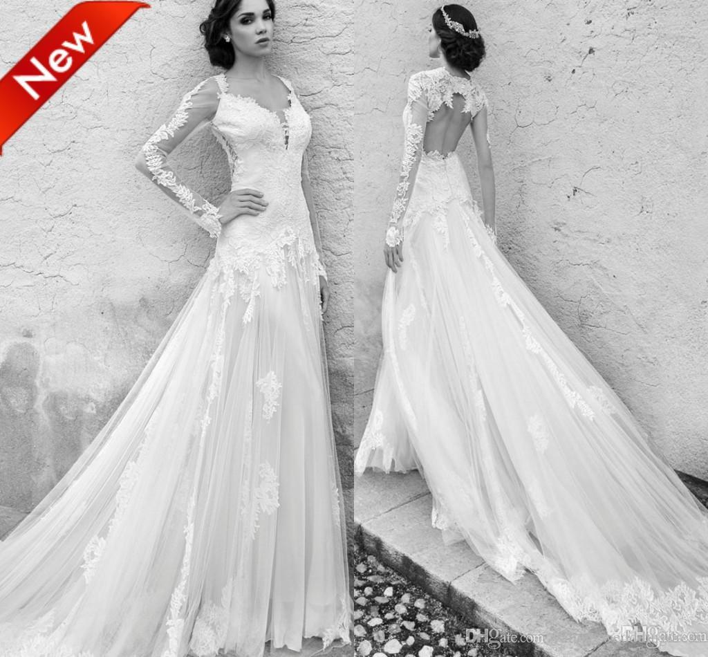 Discount 2015 long sleeve backless wedding dresses for Backless wedding dresses with sleeves