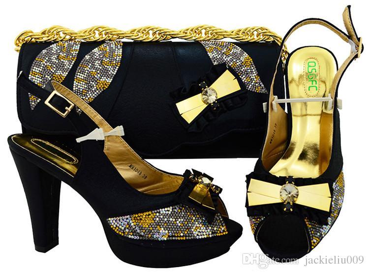 Bombas de ouro na moda das mulheres com strass e grande bowtie cristal projeto calcanhar 11CM africano sapatos jogo bolsa combinada para o vestido MM1048