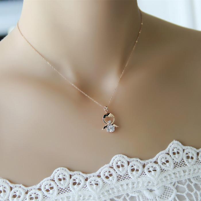 Unique Wholesale Cheap New Fashion Baby Angel Pendant Necklace Crystal  HA38