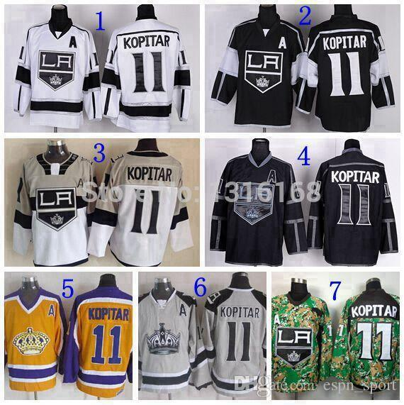 2019 2015 Los Angeles Kings  11 Anze Kopitar Jersey Men S Stadium Series LA  Kings Jerseys Kopitar Black White Gray Yellow Digital Camo From Espn sport 225a31926