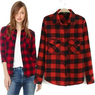 2017 2016 New Fashion Spring Autumn Black And Red Plaid Shirt ...
