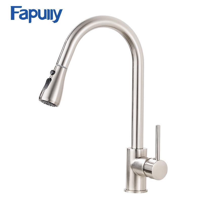 Großhandel Fapully Pull Out Küchenarmatur Einhand Wasserhahn Messing ...