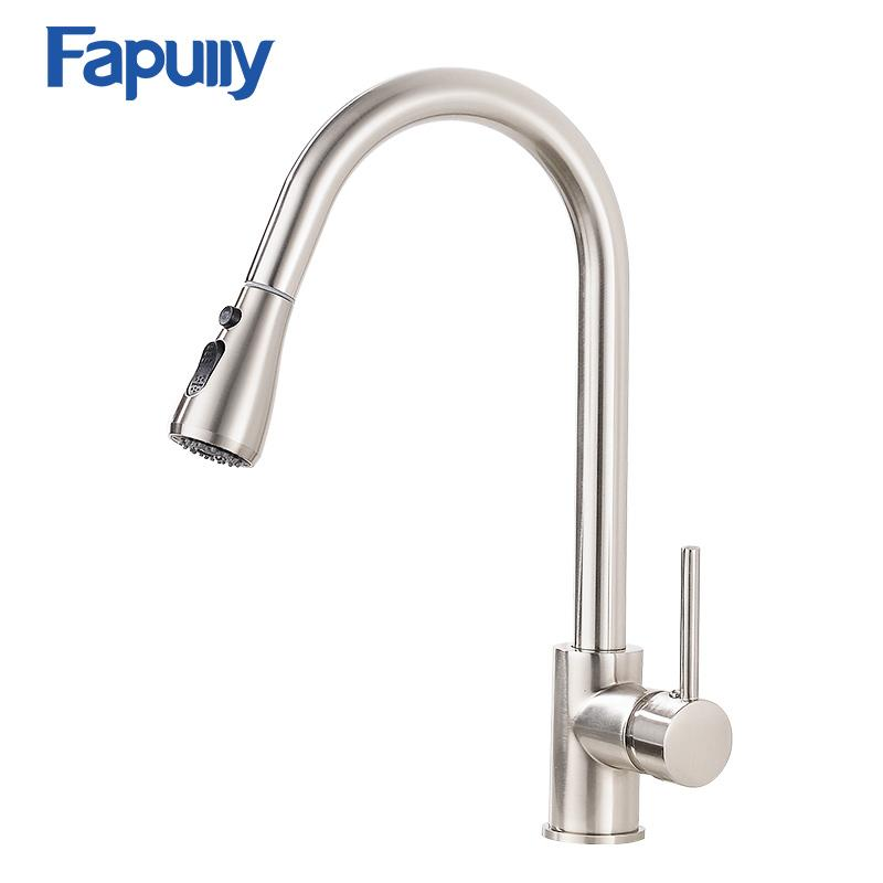 2018 Fapully Pull Out Kitchen Tap Single Handle Water Tap Brass ...