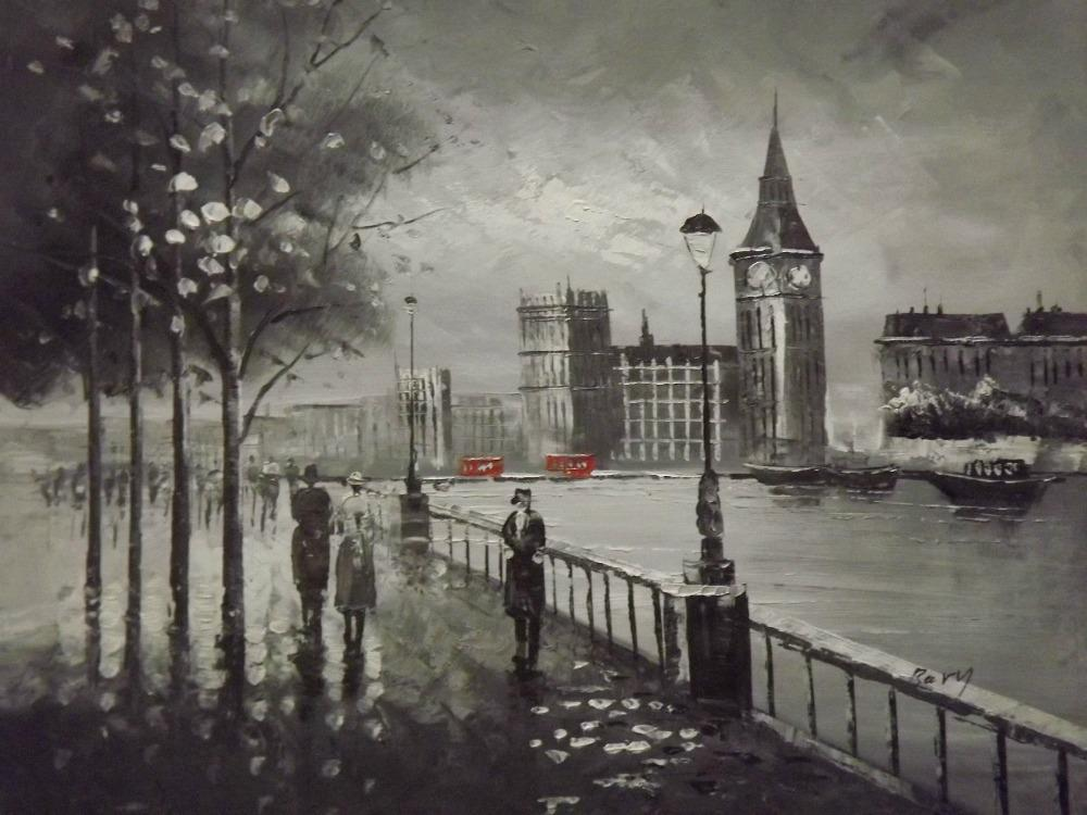 2018 London Black White Red Large Oil Painting Canvas Contemporary Cityscape OriginalNo Frameless Draw From Livehome 9247