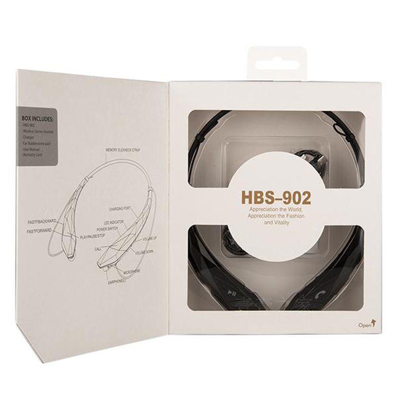 HBS902 Wireless CSR 4.0 Bluetooth Headphones Stereo Music Neckband Earphones HBS 902 Universal Sport Headset For Samsung LG DHL Free Ear175