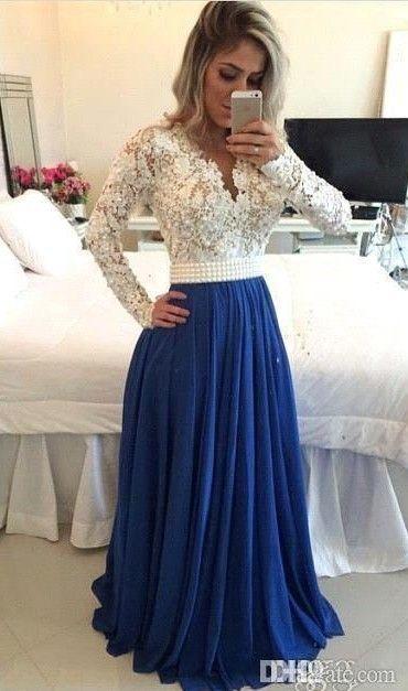 Prom largo musulmán islámica del cordón vestidos de gasa perlas Kaftan de manga larga de la fiesta de graduación vestidos de noche Dubai Vestidos con cuello en V vestido de dama
