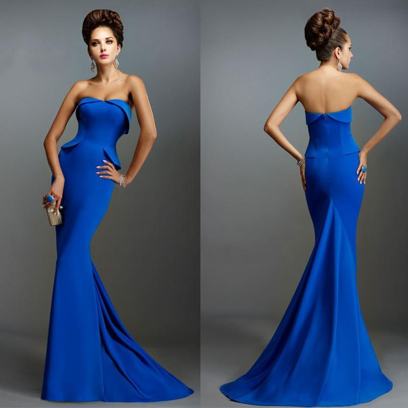 Cheap 2015 Designer Evening Dresses Strapless Peplum Evening Gowns ...