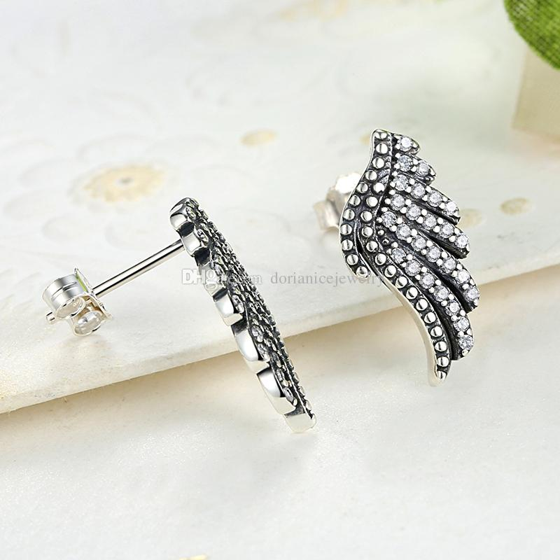Plumas Majestuosas Phoenix Wing Stud Pendientes en Plata genuina 925 con Clear CZ Elegant Pendientes Pandora Style para Mujeres ER024