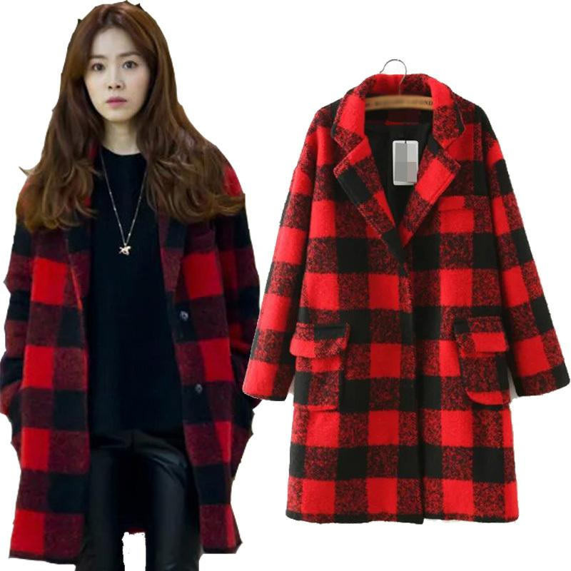Best Korean Style 2015 Long Trench Coat Red Black Plaid Winter ...