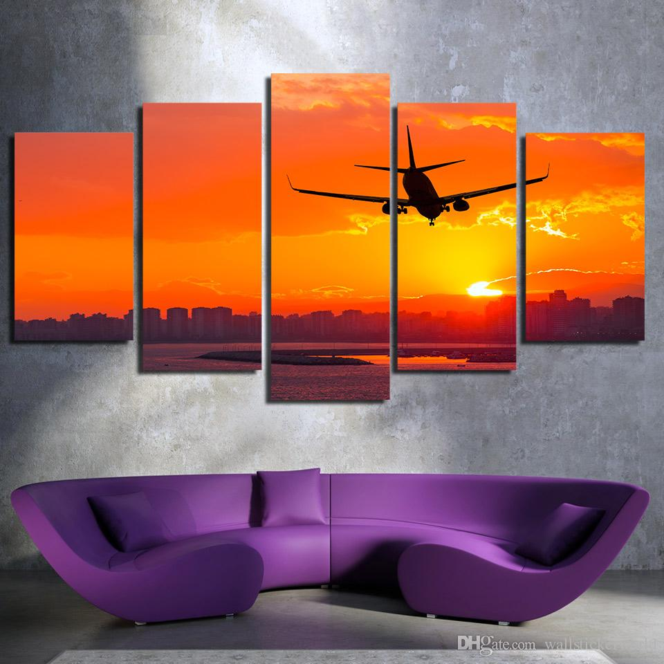 HD Printed Airplane Sunset Landscape Canvas Art Painting Wall Pictures For Living Room Home Decor Modern Painting