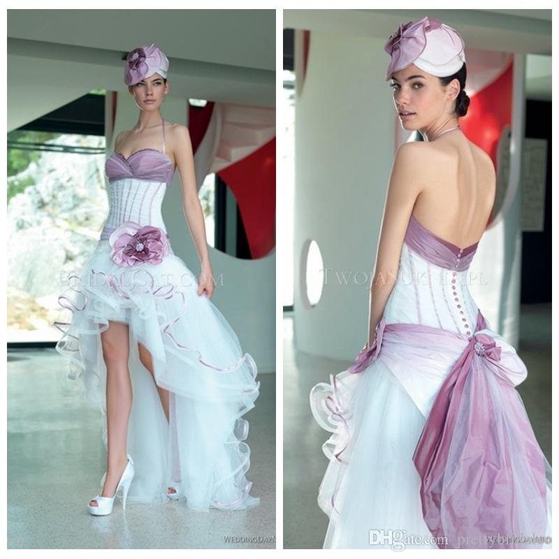 Discount Vintage Halter High Low Wedding Dresses Summer Beach Garden ...