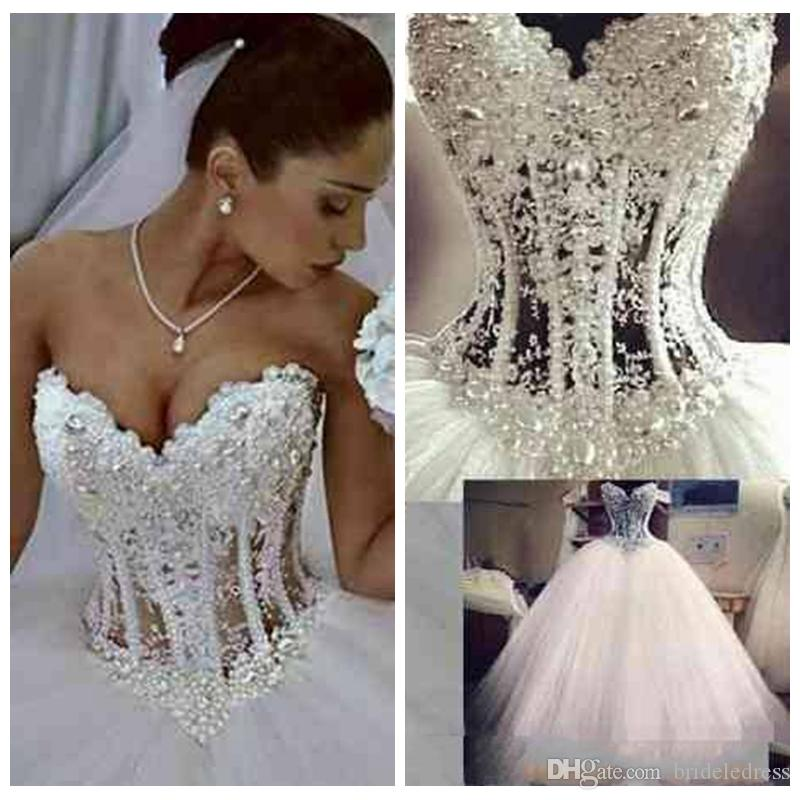 2018 Ball Gown Wedding Dresses Sweetheart Corset See Through Floor ...