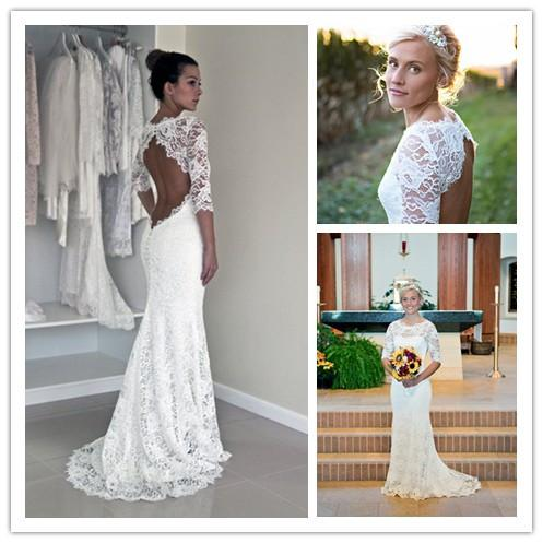 2015 Keyhole Back Wedding Dress Mermaid Sweep Train In Corded French Lace  Illusion Neckline Garden Charming Backless Bridal Gown With Sleeve Blue  Wedding ...