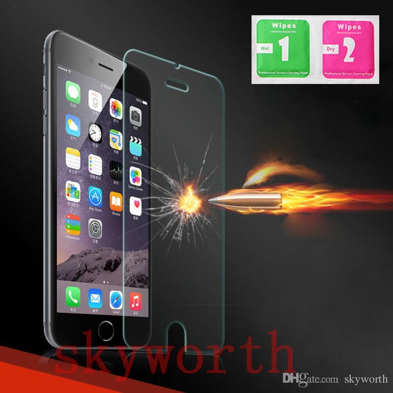 0.26 мм премиум закаленное стекло протектор экрана гвардии для iPhone 5 5S 5SE 6 6+ плюс Samsung galaxy S5 S4 S6 S7 Edge