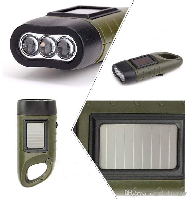 SOS Hotsale Portable LED Manovella Dynamo Solar Power Torcia elettrica Torch Outdoor Camping Alpinismo Notte Linternas