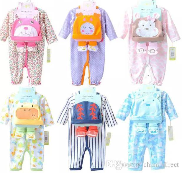 2016 Neonati Pagliaccetti Tute Ragazze Ragazzi Ragazze Manica lunga Pagliaccetto animale + Cappello + calzini Set Cotone New Born Babys Abbigliamento i # 3793
