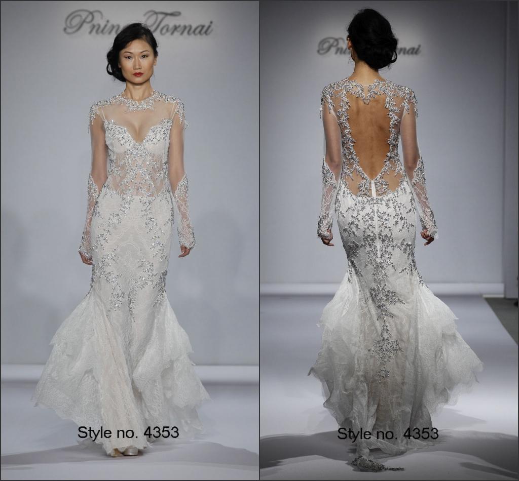Modest Pnina Tornai Bridal Dresses Sheer Top Scoop Neck Floor Length Sheer Long Sleeves Backless