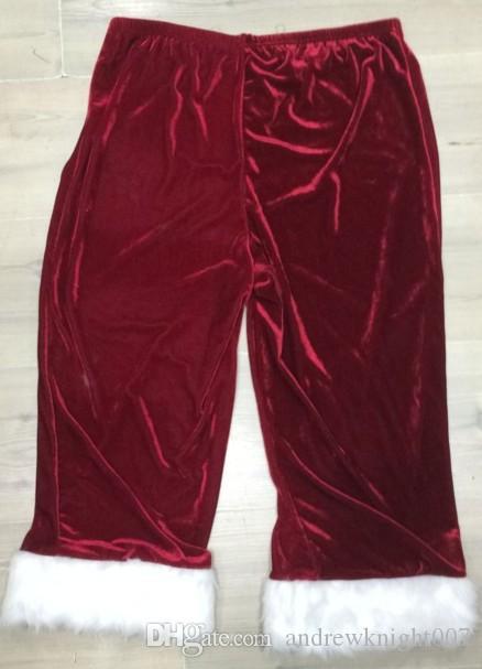 Vollständiger Satz von Weihnachten Kostüme Weihnachtsmann für Erwachsene Red Weihnachtskleidung Weihnachtsmann-Kostüm Luxus Uniform Weihnachten Kostüm für Männer Frauen