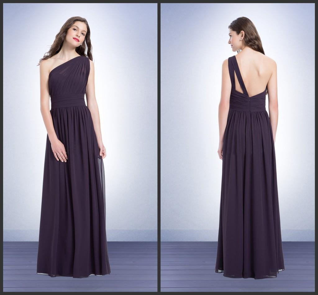 Plum chiffon long bridesmaids dresses one shoulder sleeveless plum chiffon long bridesmaids dresses one shoulder sleeveless style 1164 2015 asymmetrical pleated kr cheap floor length maid of honor dress nice bridesmaid ombrellifo Image collections