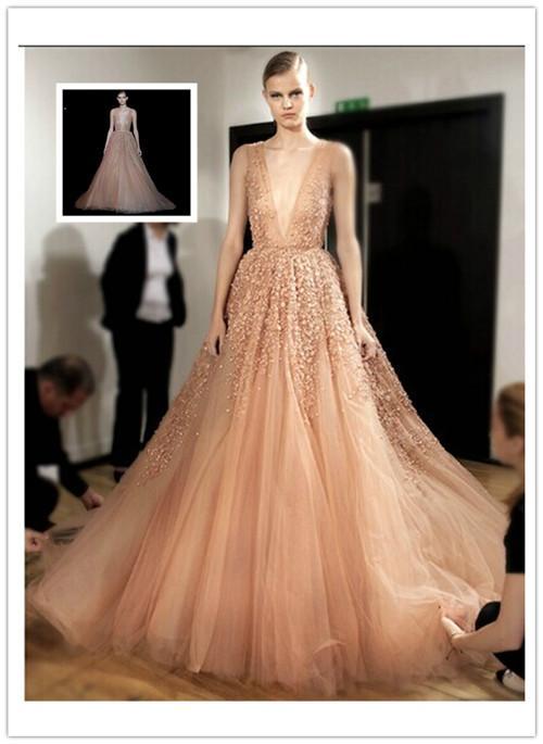 Elie Saab 2015 Summer Deep V Neck Tulle Ball Gown Wedding