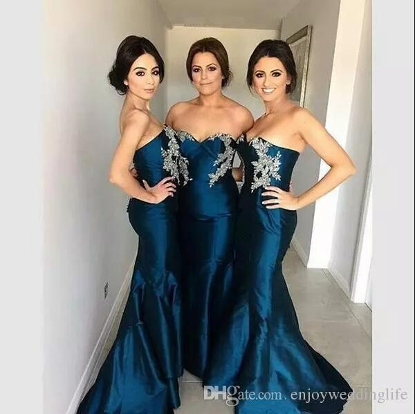 895883342607 2018 New Sweetheart Navy Blue Bridesmaid Dresses Silver Lace Appliqued  Mermaid Maid Of Honor Gowns Custom Made Prom Gowns For Weddings 1950s  Bridesmaid ...