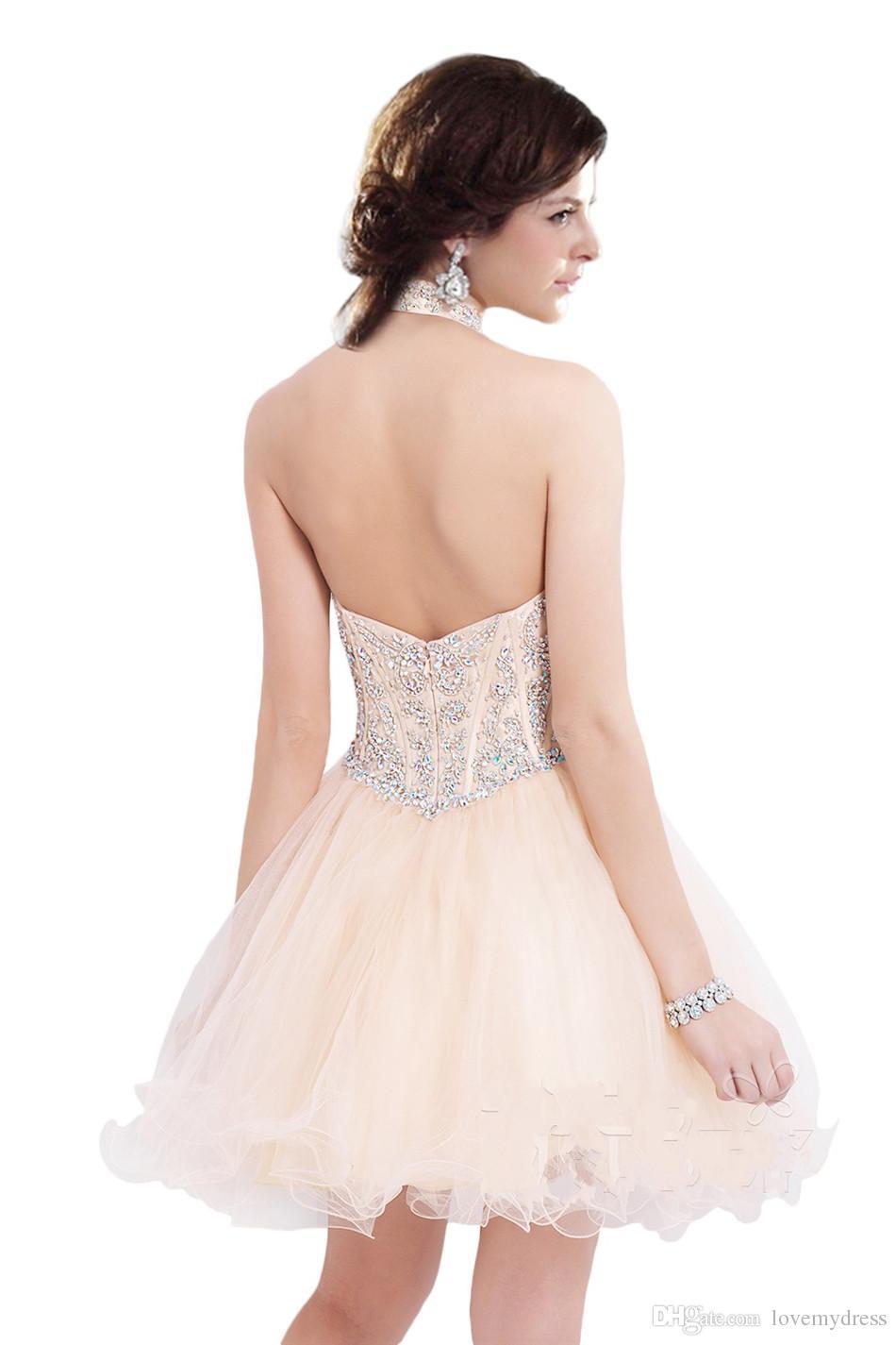 Espalda abierta del cuello del halter anaranjado claro del regreso al hogar del Organza Vestidos Cortos Vestidos de baile Modest nueva llegada de cristal lindo club Vestidos