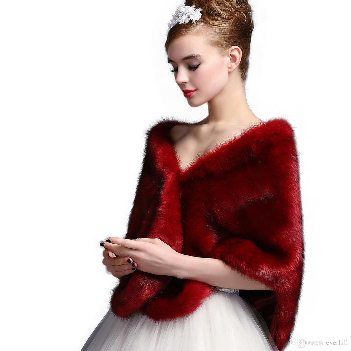 Jane Vini Bridal Wedding Shawls and Wraps Winter Bolero Women Faux Fur Shoulder Capes Stoles for Wedding Party Dresses 2018 High Quality