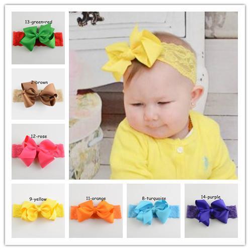 Baby Lace Headbands Big Ribbon Bows Hair Bow With Soft Headbands For Girls  Baby Girls Headband Children S Hair Accessories Toddler Hair Band Wedding  Hair ... 8573e8c17b3